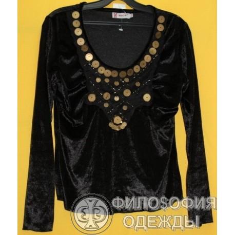 Женская бархатная кофточка, блузка, Max-W, размер 42-44