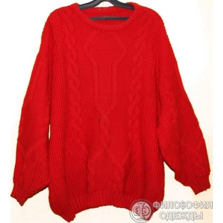 Женский свитер красный, размер 56-58