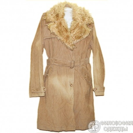 Вельветовое утепленное пальто с меховой опушкой р.54-56