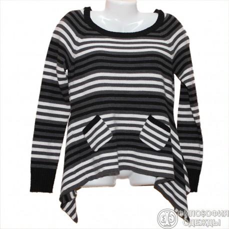 Интересный свитерок в полосочку р.42-44 с необычными боками и кармашками