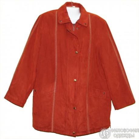 Терракотовая куртка под замшу р.58-60