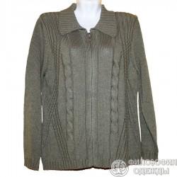 Удобная, вязаная куртка-кофта р.56-58 болотного цвета с красивой вязкой на полочках