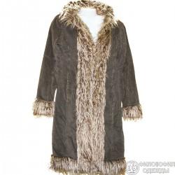 Теплое красивое вельветовое пальто с опушкой из искусственного меха р.46