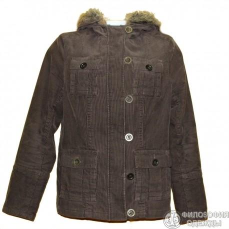 Вельветовая куртка болотного цвета р.48-50 с капюшоном и отстегивающейся опушкой