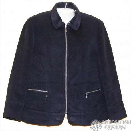 Мягкая, уютная, красивого темно-василькового цвета куртка-полупальто р.50-52