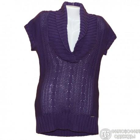 Красивая сиреневая туника-платье р.42-44 крупной вязки