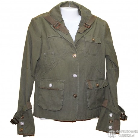 "Классная куртка цвета ""хаки"" р.44-46"