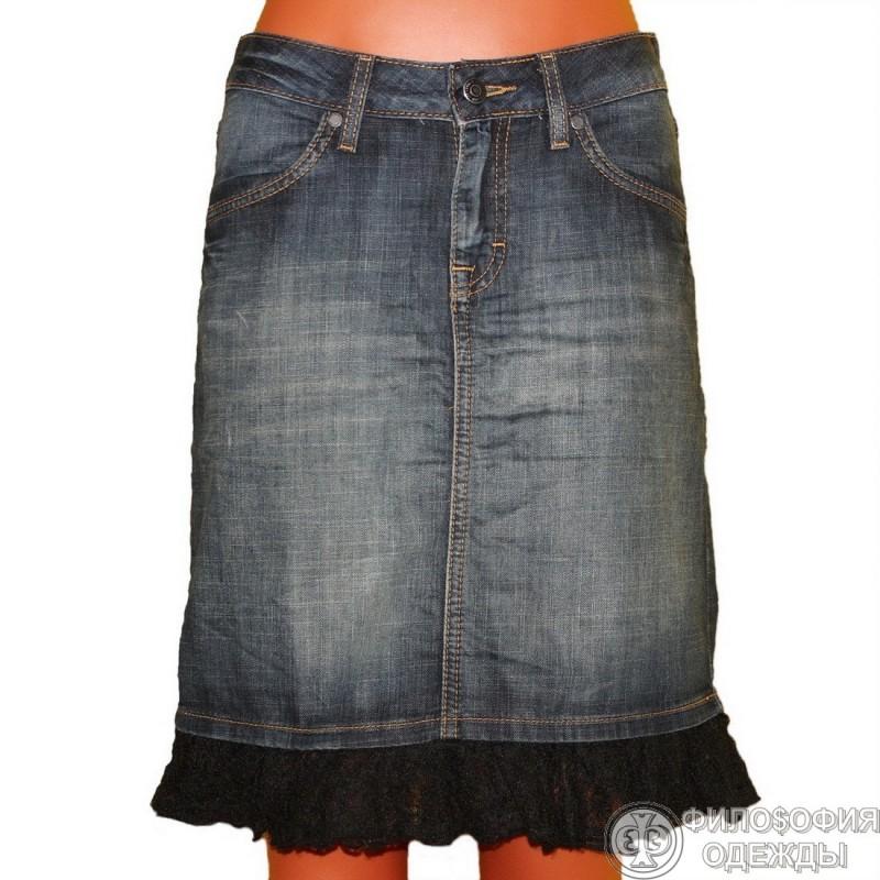 Отделка джинсовой юбки кружевом