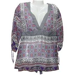 Легкая полупрозрачная блузка, с рисунком Liberty woman р. 52-54