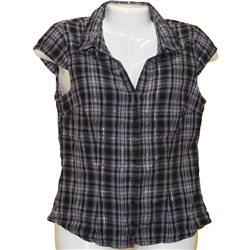 Симпатичная блузка в клетку с блестящей нитью H&M р. 42-44