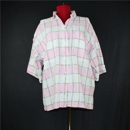 Рубашка бело-розовая 54-56 в клетку