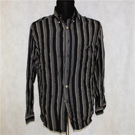 Мужская черная рубашка р. 56-58 в серую полоску Wampum
