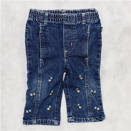 Штаны джинсовые р. 20-22 на резинке с вышивкой в цветочек
